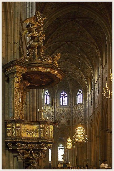 medieval pulpit. Uppsala, Sweden. By: GungaJim Downs