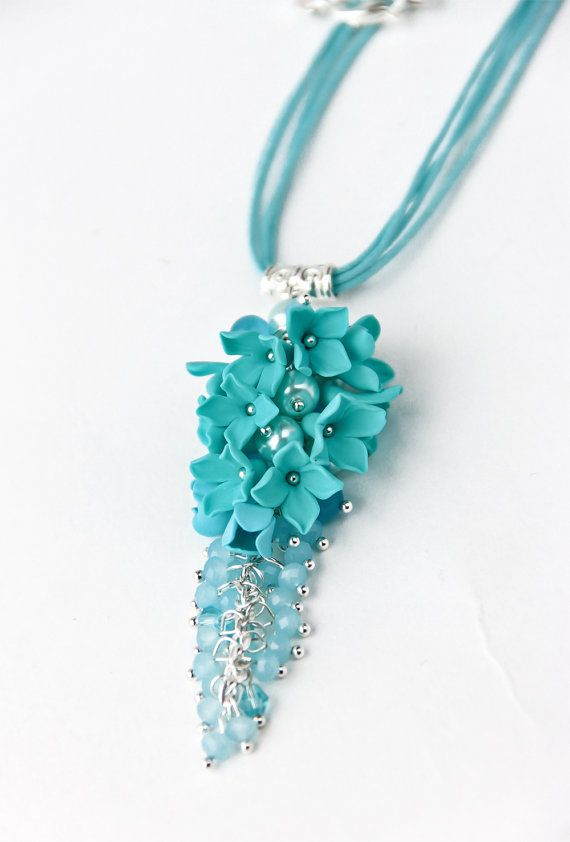 Pendant turquoise polymer clay flower pendant by JewelryFloren