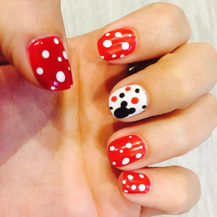 Nails ready for a Disney World trip. Mickey & Minnie design, ❤️ so cute.