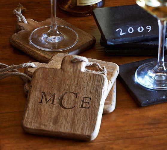 Vintage wood drink coaster set of 4 monogram for a for Drink coaster ideas