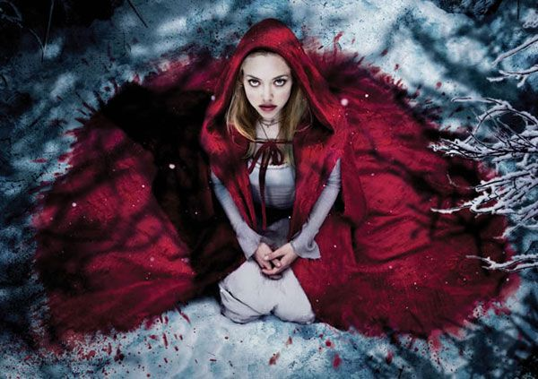 Red Riding Hood- The way her cloak bleeds into the snow...gives a clue about the movie. Yum. XD
