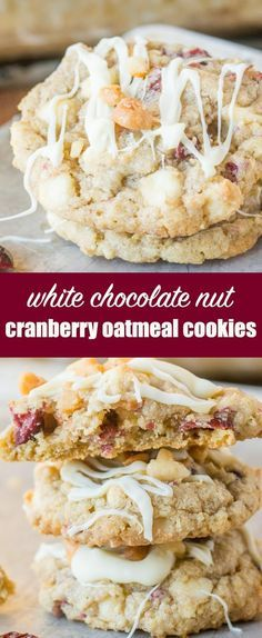 White Chocolate Cranberry Oatmeal Cookies that are full of cranberries, white chocolate chips, macadamia nuts, and oatmeal. Hearty enough for breakfast! #craisins #cranberries #cookies #oatmeal  via @tastesoflizzyt