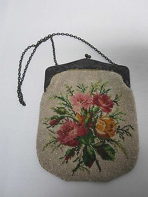 ANTIQUE BEADED HANDBAG PURSE w FLOWERS & SILVER FRAME