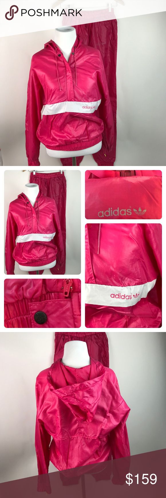 Vintage Adidas Tracksuit Women's Sz M AR57 EUC...minor fading of adidas logo on thigh of track pant only- all other logos intact. NO stains holes rips or pilling.  spectacular VINTAGE ADIDAS TRACKSUIT for women! This listing includes the popover hooded windbreaker which folds into and out of a Belted fanny pack that fastens around waist for travel, etc. when Jacket is in use, the fanny pack and strap nestled into the jacket's front pocket. The pants feature a traditional elastic waistband…