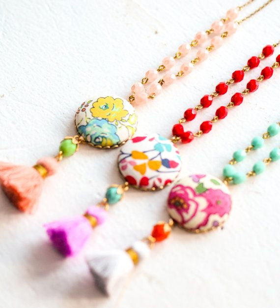 Colorful Tassel Necklace, Liberty Of London Necklace, Beaded Tassel Necklace, Tassel Necklace