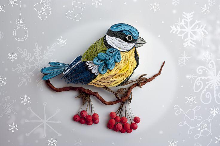 квиллинг ручная работа новый год зима синица магнит