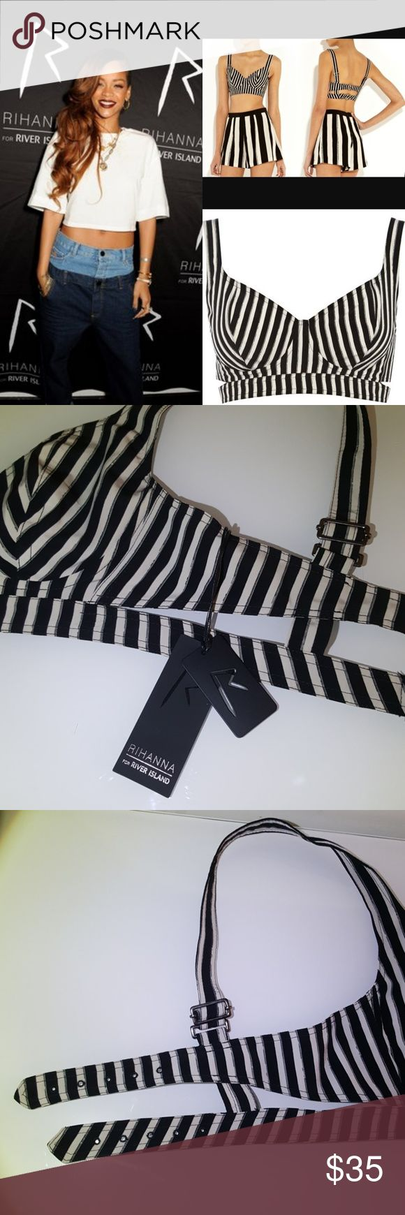 RIHANNA for River Island bustier New with tags Size 8 USA  Size 34 EURO Shoulder straps fully adjustable Bust adjustable 5 times,  approx 26-30 inches around Rare find!!! Rihanna for River Island Tops