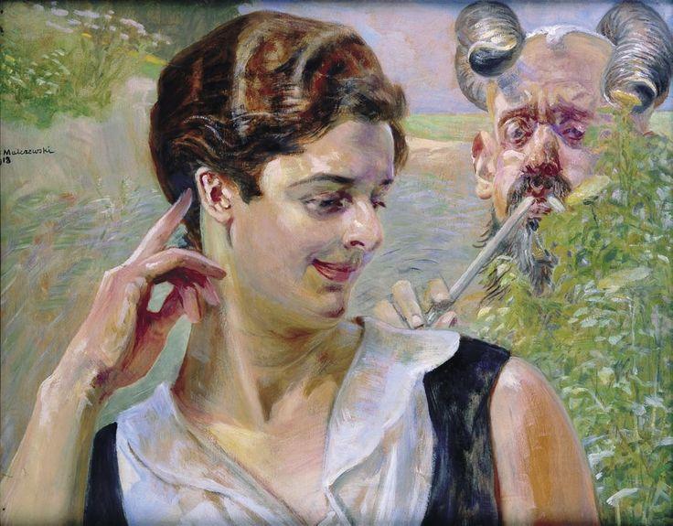 Kobieta z faunem (Pokusa), 1918, olej, deska