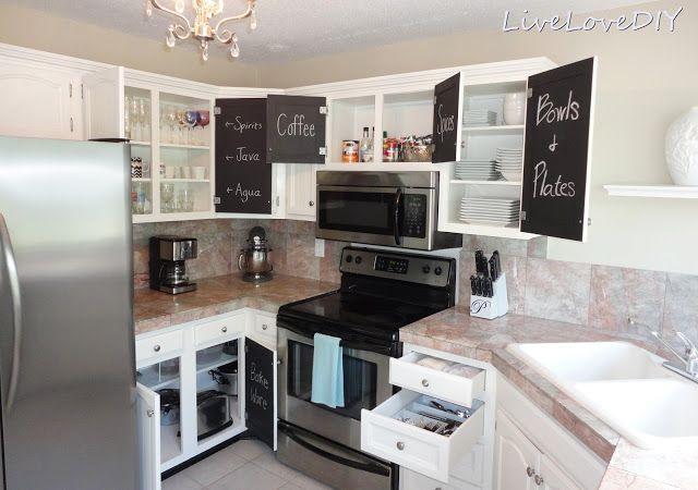 Para tener la cocina ordenada y que todo esté en su sitio, solo es necesario convertir algunos armarios en pizarra. Idea de @Laura from Inspiration for Moms