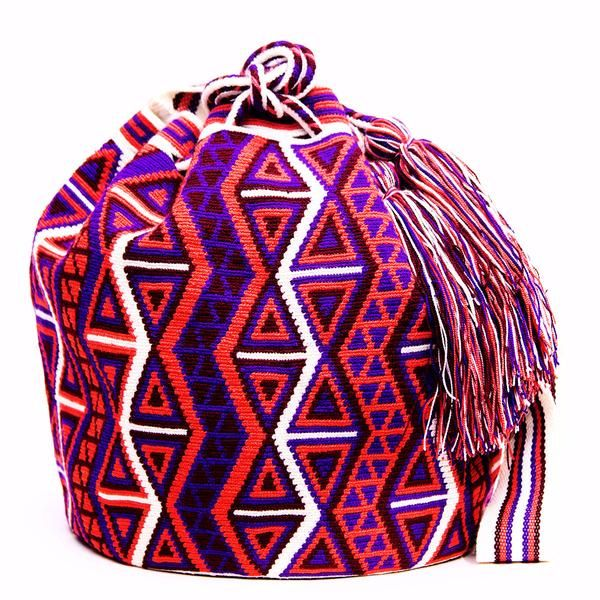 "$276. Handmade Hermosa Wayuu bags are rare art. Only small amounts are made because of the complexity and method to produce a single Hermosa…Approx: 10""L x  9 ""W x 10""H; 20 -23"" strap"