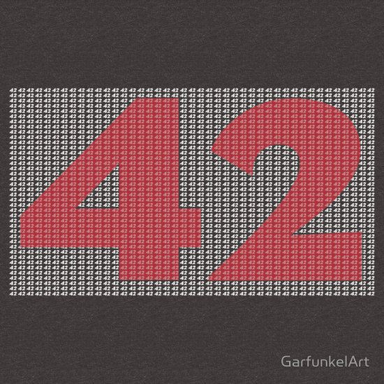 The Number 42, Hitch Hikers Guide To The Galaxy inspired T-shirt and accessories   Available as T-Shirts & Hoodies, Stickers, iPhone Cases, Samsung Galaxy Cases, Pouches, Home Decors, Prints, Cards, Pencil Skirts, Laptop Skins, Laptop Sleeves, and Stationeries