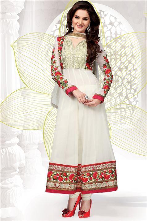 Designer Monika Bedi Off White, Red Georgette Suit