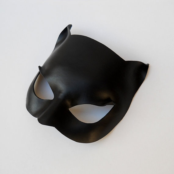 Black Cat Woman Leather Mask Super Hero Halloween by LMEmasks