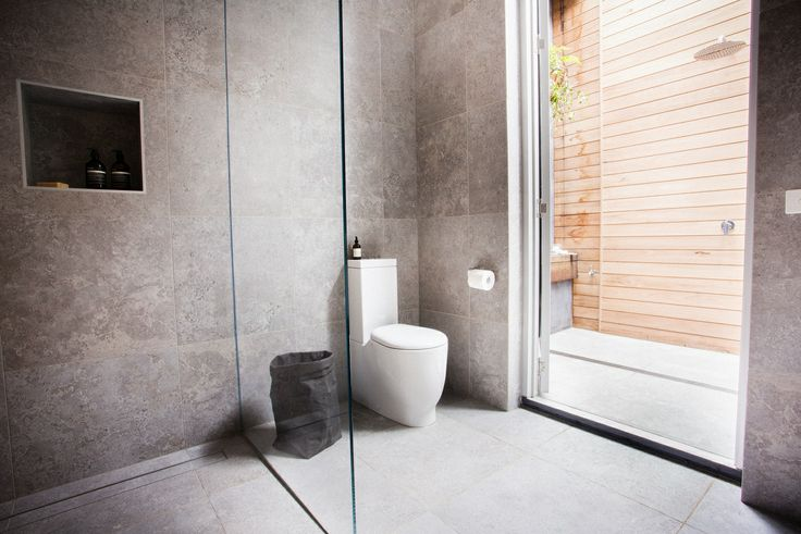 This stylish bathroom appeared on The Block Fans vs. Faves. It features the Excellence Grey tile from Beaumont Tiles. #TheBlock