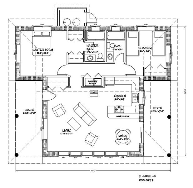 Floor plan of strawbale home