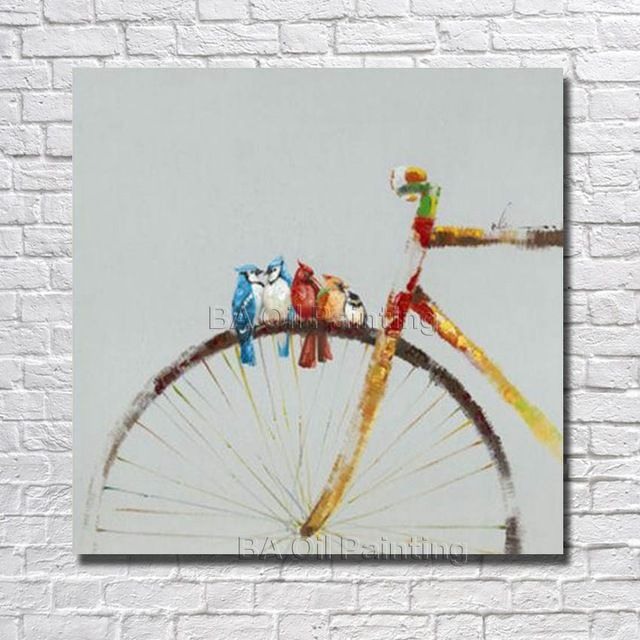 1Peice Wall Canvas 100% Hand painted Abstract Bicycle Oil Painting Modern Living Room Wall Decor  Pictures no Framed Art