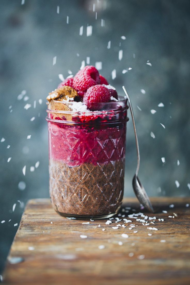 Chocolate Chia & Raspberry Parfait