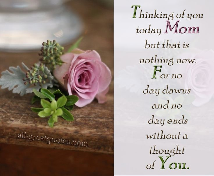 Thinking of you Today Mom but that is nothing new. For no day dawns and no day ends without a thought of You.