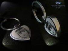 Metal Personalised Photo Engraved Heart Keyring - FREE UK POSTAGE Ideal Gift