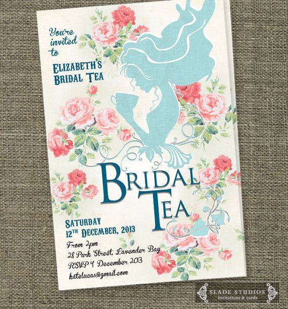 Vintage Bridal Tea invitations with shabby chic floral detail. Bridal Shower invitations printable.