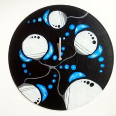 Horloge abstraite bleue vinyle 33t