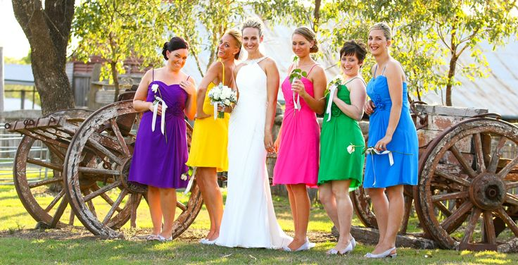 Different bright colours for bridesmaids