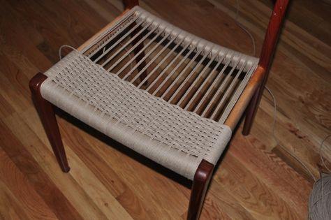 Weaving Danish Paper Cord Seats On Danish Modern Furniture