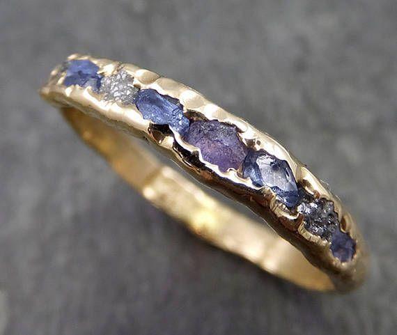Raw diamond and Sapphires men's or women's Wedding Band Custom One Of a Kind Blue Montana Gemstone Ring Multi stone Ring byAngeline C0558