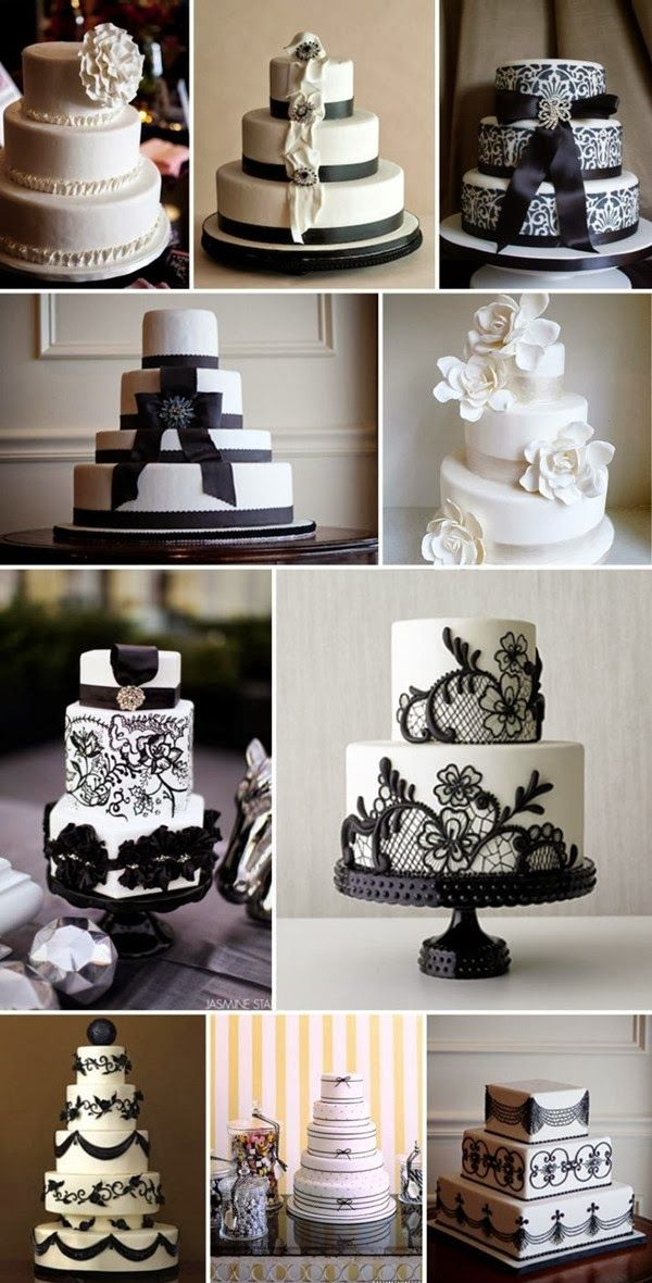 Black and White Wedding Theme | Wedding Cake. http://simpleweddingstuff.blogspot.com/2014/02/black-and-white-wedding-theme.html