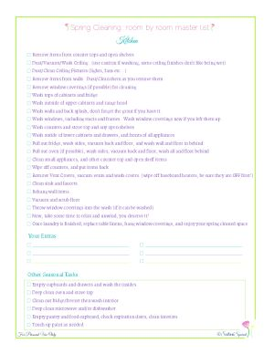free printable spring cleaning master checklist for kitchens, from Scattered Squirrel