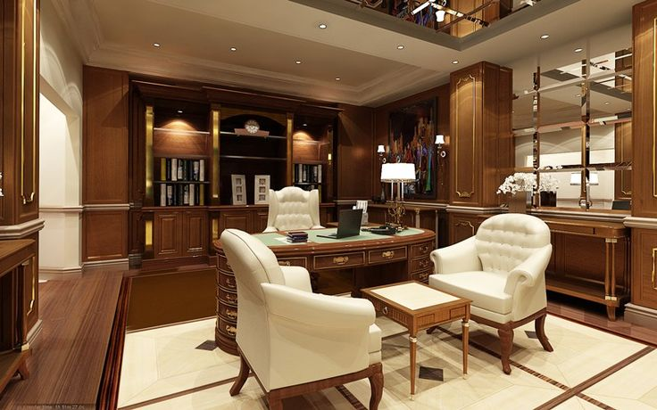 Luxury home office with a modern feel incorporating plenty of wood and white.  Extensive wood paneling and desk accompanied with white desk ...