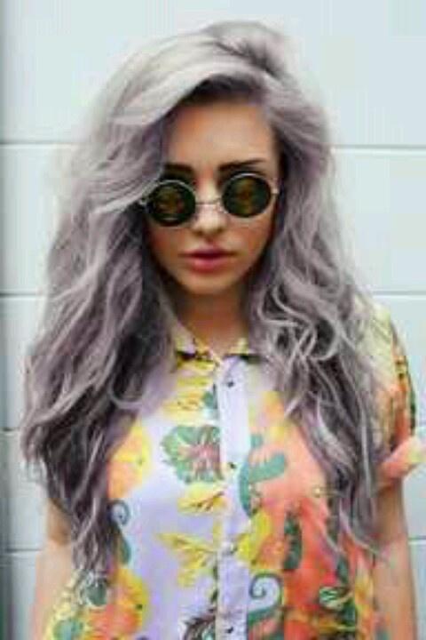 Lavender grey hair.