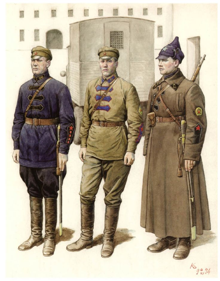 CHEKISTS. Uniforms of the GPU-OGPU. 1922-1934 1. A serviceman headquarters GPU troops of the Moscow Military District 2. Sergeant Major Moscow Сonvoy team 3. Red Army man 1st Separate Cavalry Division 1922-1923.