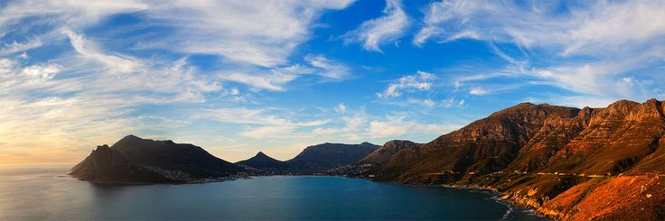 Hout Bay From Chapmans Peak Drive, Cape Town  Twisting and streaking Cirrus clouds decorate the sky over the typical Chapmans Peak view of Hout Bay