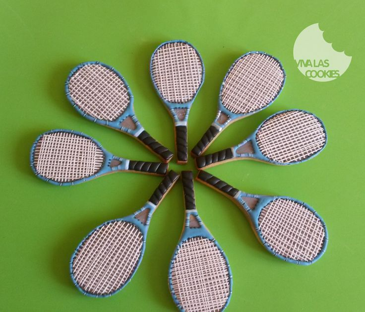 Tennis racket cookies, galletas raqueta de tenis, by www.vivalascookies.com