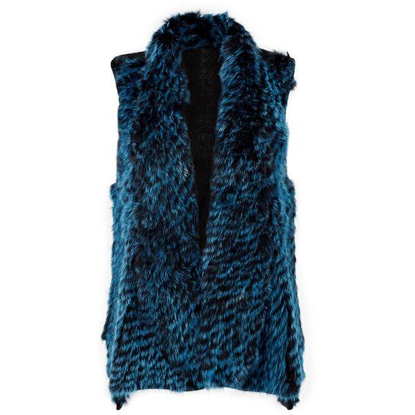 Rental ELLIATT Emerald Genevieve Fur Vest ($60) ❤ liked on Polyvore featuring outerwear, vests, blue, dresses, fur vest, vest waistcoat, fur sleeveless vest, blue fur vest and sleeveless vest