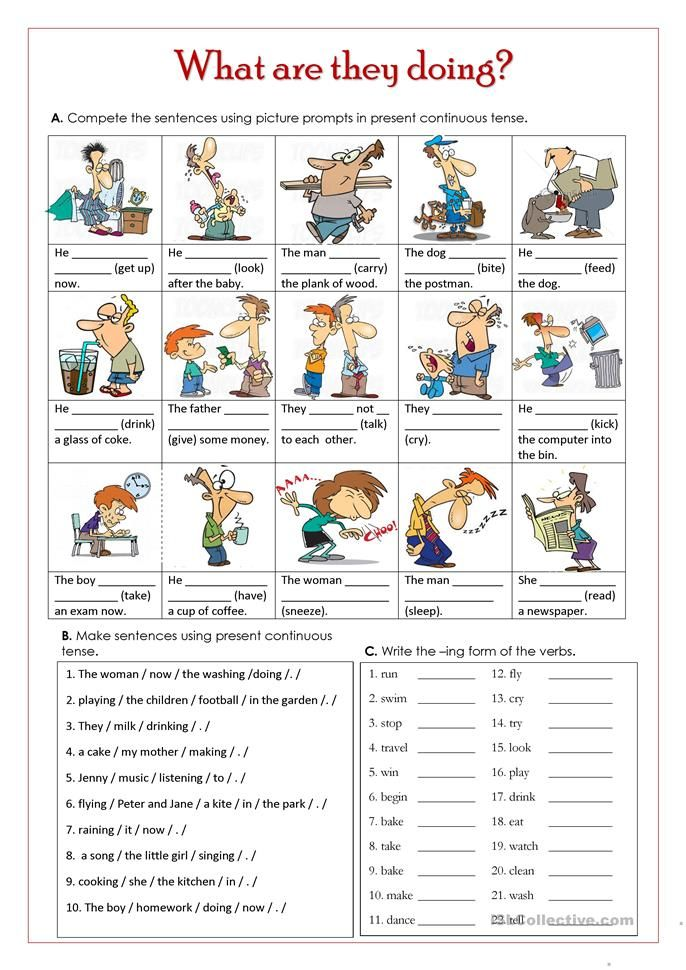 What Are They Doing English Esl Worksheets Picture Prompts Present Continuous Tense Activities Writing Tasks