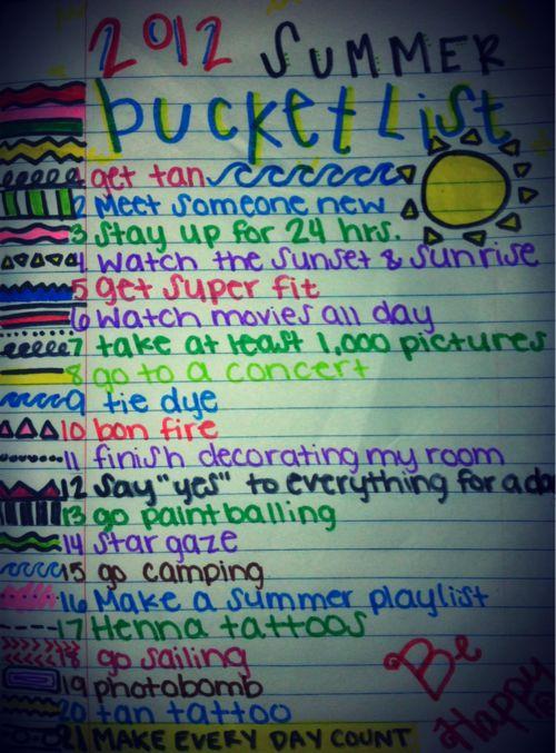 bucket list for summer