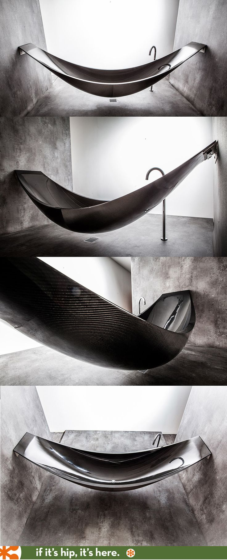 *okay, found this under design.  Yes its great.  If you eat lettuce everyday. Skinny people 1- Fat people 0.    But I get to eat! (+.5)   Limited Edition Carbon Fiber bathtub inspired by a hammock.