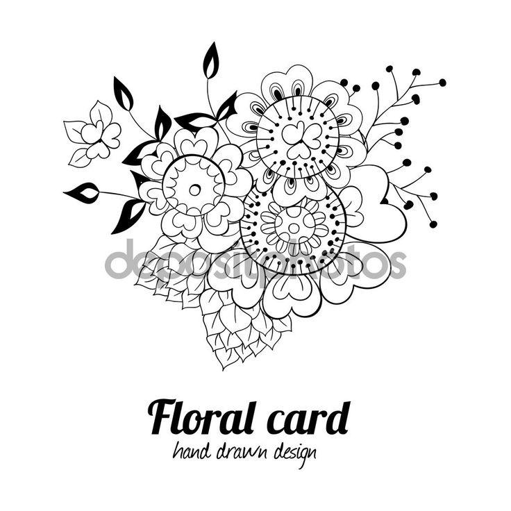 Рука нарисованные цветочные карты — стоковая иллюстрация #100526856