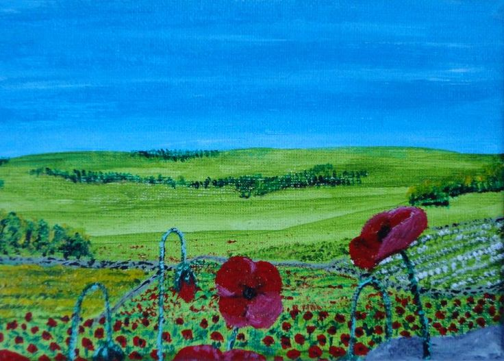 Red Inspiring poppies by stevenwillis  Red inspiring poppies - I saw some across countryside. There's far more to the painting than that, there are the memories to go with it.