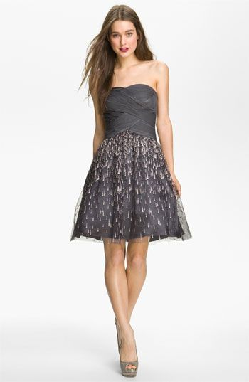 ShopStyle: Adrianna PapellHailey by Strapless Glitter Flared Dress