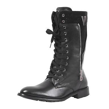 Leather Men's Flat Heel Knee-High Combat Boots With Lace-up – EUR € 31.62