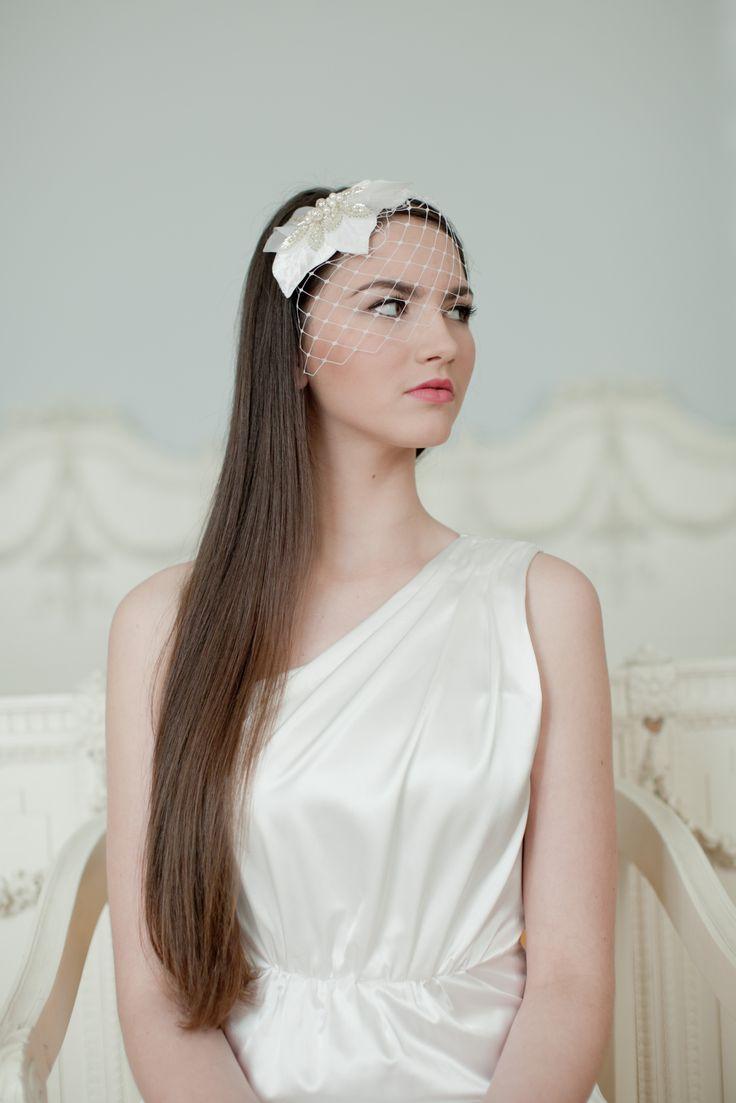 Bridal millinery headband, handmade velvet leaves beaded with silver tubes beads and swarovski pearls