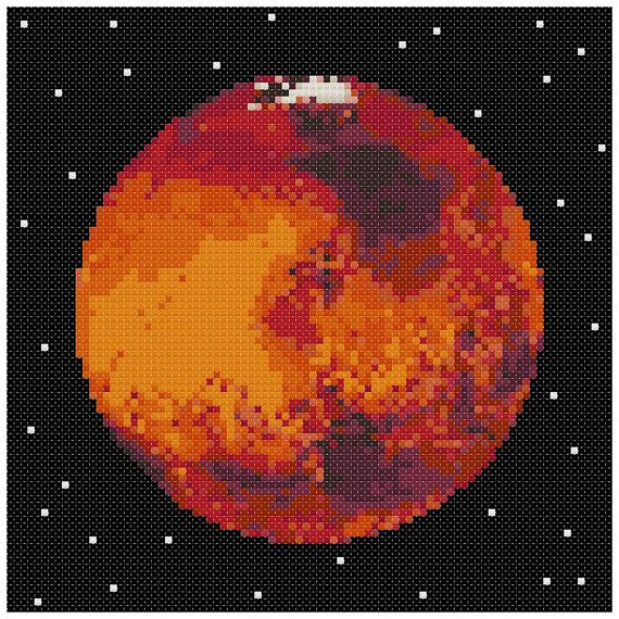 PDF Cross Stitch pattern : 0054.Mars planet by PIXcross