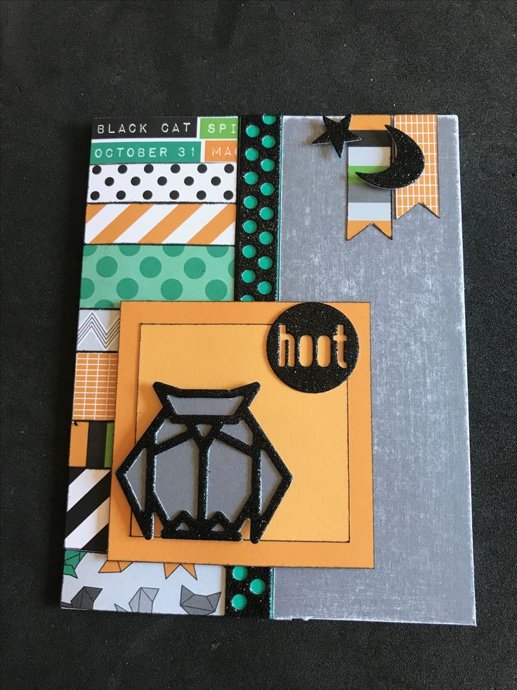 "I could not resist using as many papers & zip strips as I could for this Color Dare using the ""Cats & Bats"" colors. Emerald, Charcoal, Goldrush cardstock along with black glittery complements make a card I may add to my Halloween decorations."
