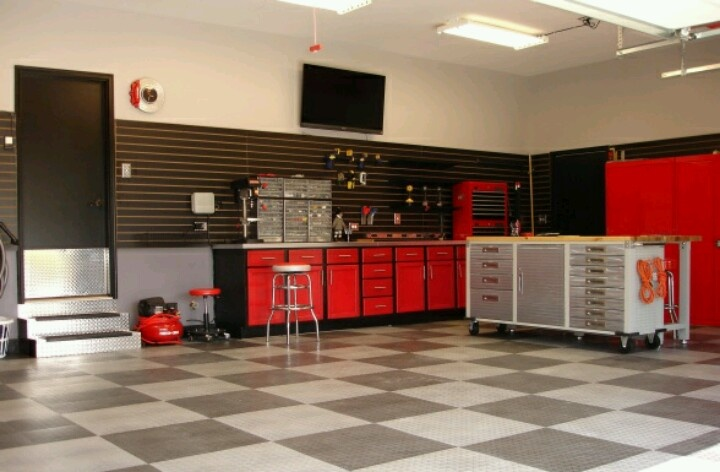 Functional Man Cave Garage : Man cave garage red black gray color scheme caves