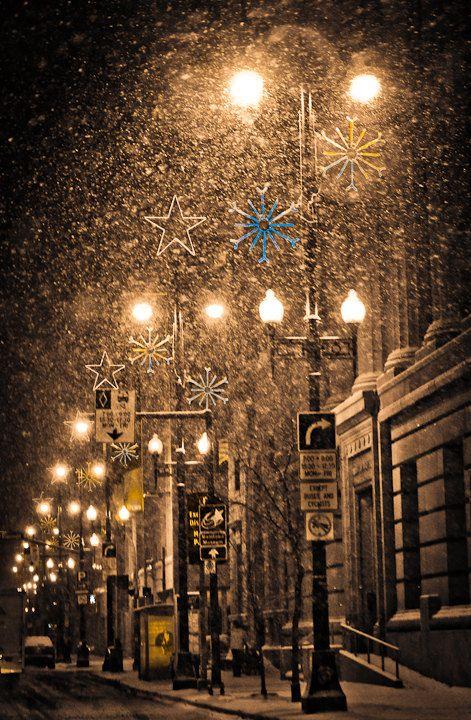 Snow and Christmas Lights on City Street, Winnipeg, Canada
