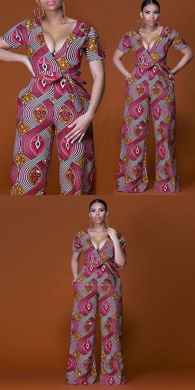 61ec5d4b5f3 Africa 155241  Plus Size 2018 Summer Wide Leg Pant Women Rompers Jumpsuits  African Print Clothi