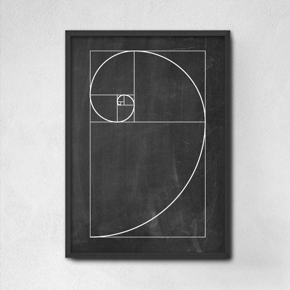 Fibonacci Spiral Wall Art Poster - Mathematics Fibonacci Numbers - Fibonacci Sequence - Golden Ratio Spiral - Mathematics Student Print